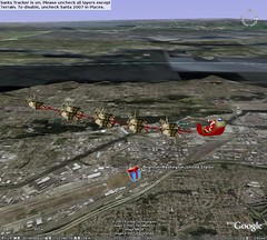 Santa flying over Boeing Field