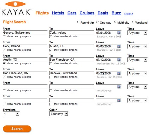 Kayak search: GVA-ORK-AUS-SFO-GVA
