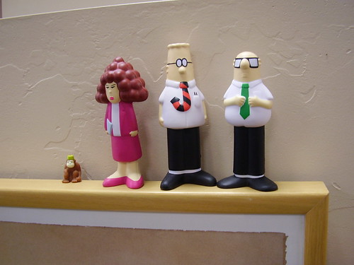Dilbert stress-squisher toys and Karl the pencil monkey