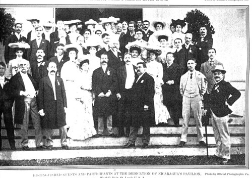 Distinguished guests and participants at the dedication of Nicaragua's pavilion, World's Fair, St. Louis, U. S. A. Photo by Official Photographic Co. (World's Fair Bulletin. August, 1904. Vol. 5, No. 10, page 45)