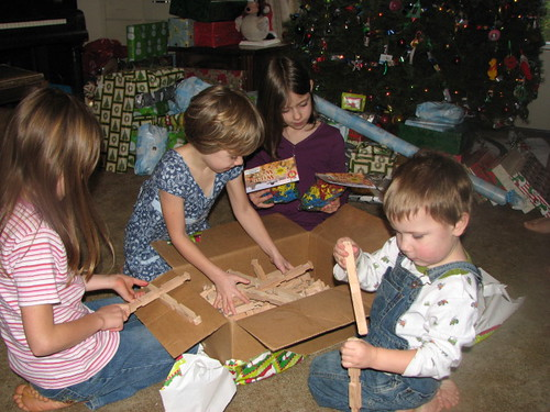 Kids with Lincoln logs that Dad made