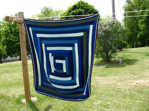 Finished Blanket on Clothesline