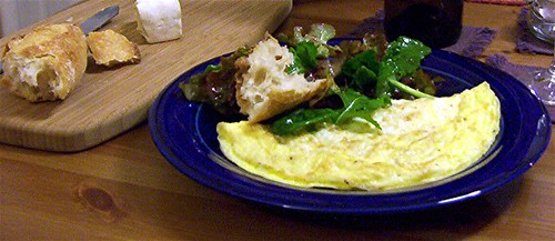 omelet and salad dinner