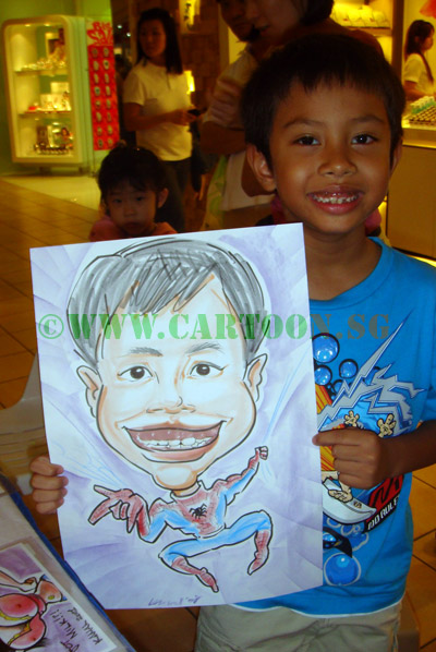Spiderman caricatures and other superhero cartoon drawing by artists in Singapore