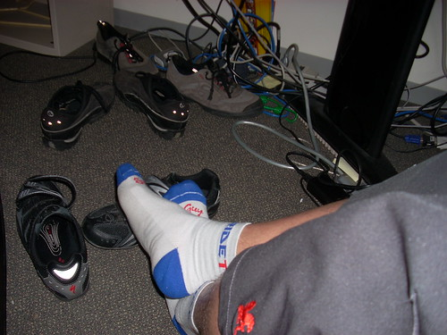 3 pair of bike shoes under my desk