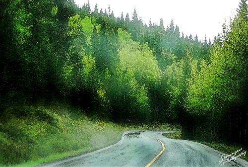 green road watercolor