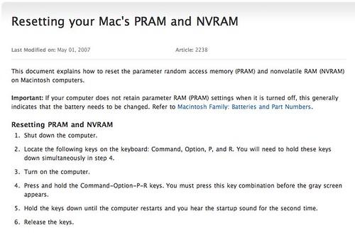 Resetting your Mac's PRAM and NVRAM