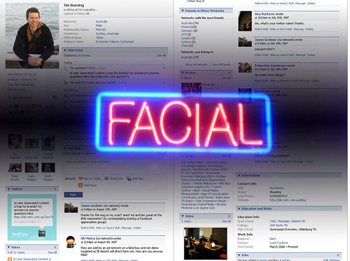Getting a facial on my facebook page? About time...