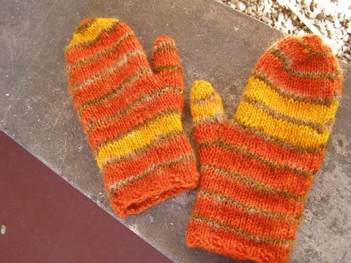 orange rothko mitts - flat