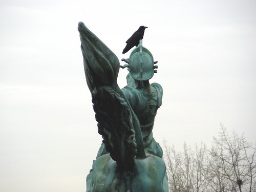 With a crow on his head