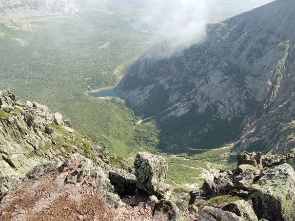 The view from Katahdin's Baxter Peak into the South Basin and Chimney Pond.