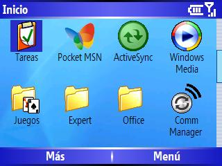 Menu inicio Windows Mobile 5 HTC Excalibur S620 Scroll 2 de 4