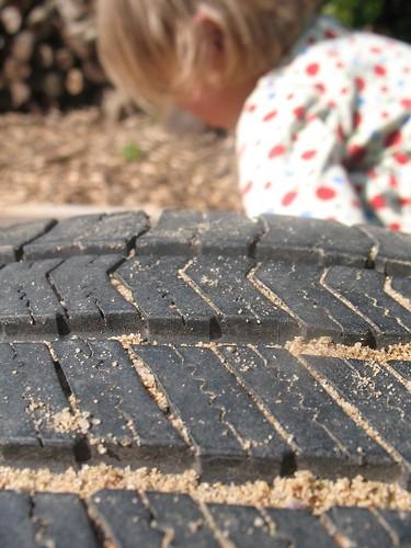 tire in sand box