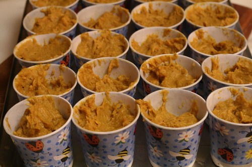 Filled cups ready for baking