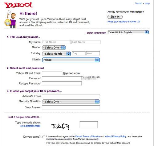 Yahoo! removes postcode field for Ireland