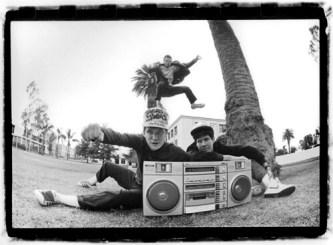 Beastie Boys outside KXLU Studios in 1985