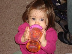 Amelia using her new sippy cup