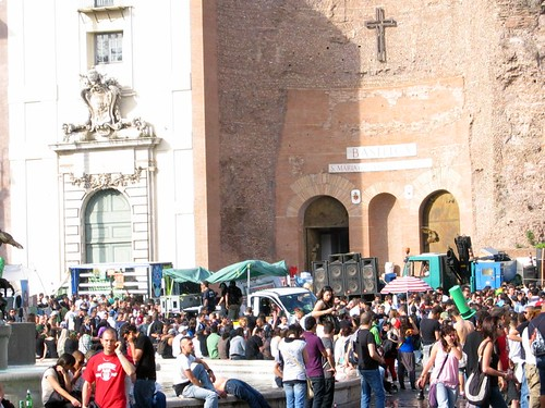 Party on the Piazza Nazionale.