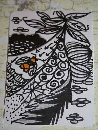 Bee Zentangle ATC