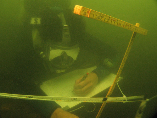 Diver recording sections on the hull of the Princes Channel Wreck