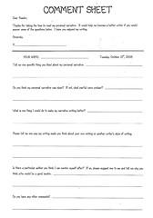 Comment Sheet for Personal Narrative Publishing Portfolios