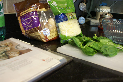 All ready to make Real Simple's chicken and spinach quesadillas.
