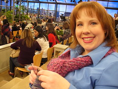 Here I am, actually knitting in the audience