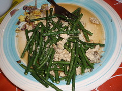 long beans, pork, egg, onions