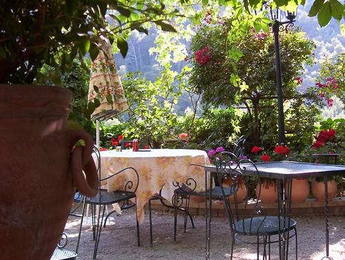 The terrace at Les Florets