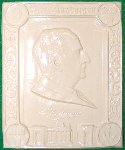 A glazed pottery plaque depicting the politician John Redmond