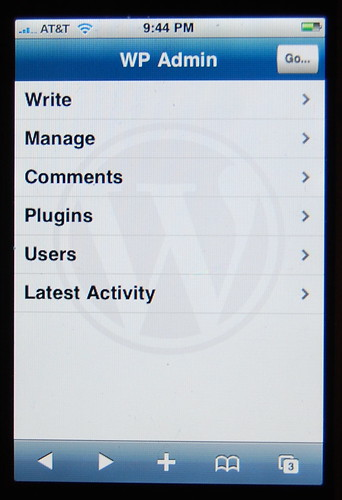 WP Admin on iPhone