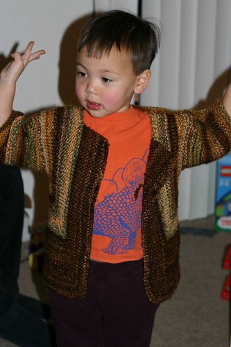 Dancing in his surprise jacket