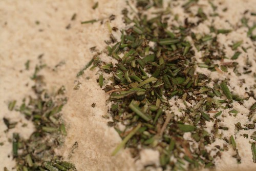 Chopped rosemary in flour