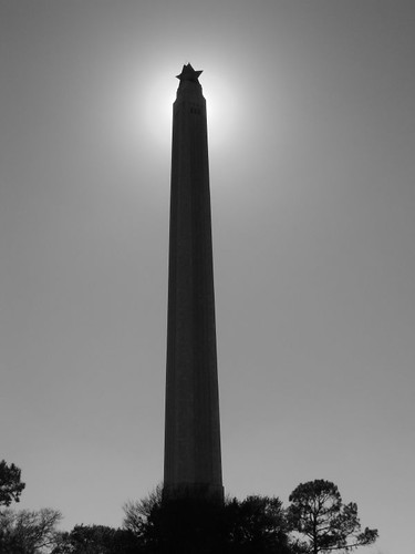San Jacinto Monument with the Sun Behind It