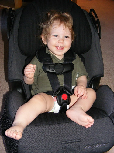 Trying out the new car seat before we put it in the car!