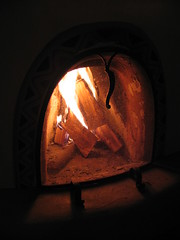 Winter Fire, Mabel Dodge Luhan House, Taos, New Mexico, February 2007,photo © 2007 by QuoinMonkey. All rights reserved.