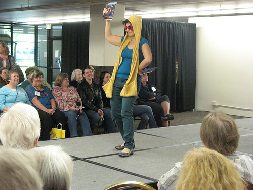 From the fashion show, modeling the Handknit Heroes knits from the comic book.