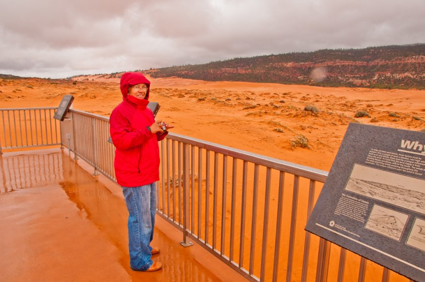 Chris braves the weather at the Coral Pink Sand Dunes
