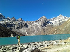 the lake in front of the village of gokyo