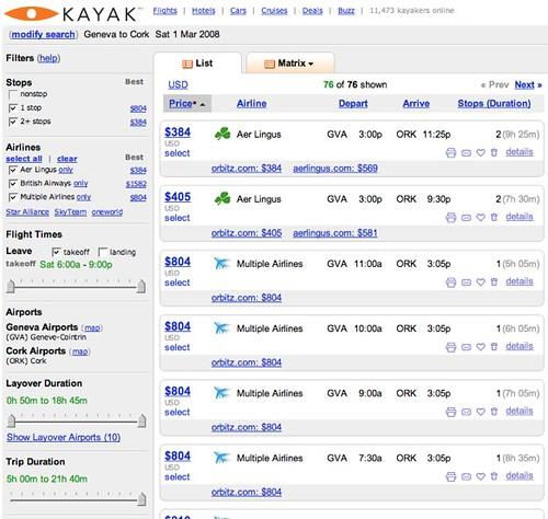 Kayak.com GVA - ORK