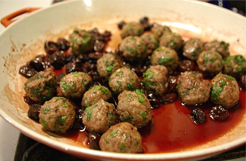 lamb meatballs with sour cherry sauce