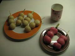 Finished dango on their bamboo skewers