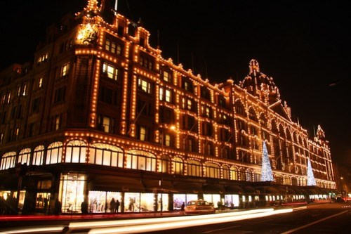 Harrods with christmas decoration, London UK by beatbull.