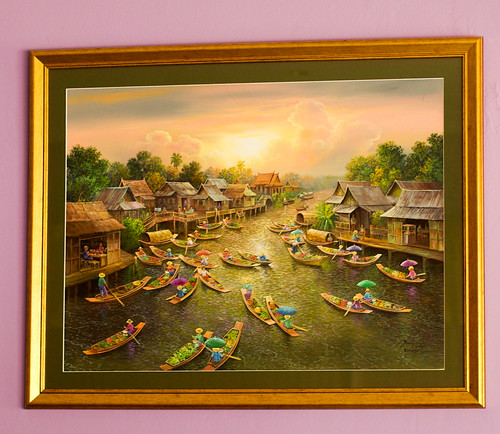 Painting of Thai scene with boats from Windang Thai Gardens restaurant