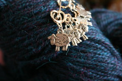 stitchmarkers and alpaca closeup