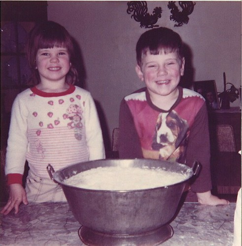 Lil Jennie and bro Joe making bread