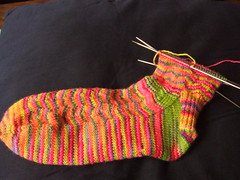 Rainbow waves sock 1, side 1