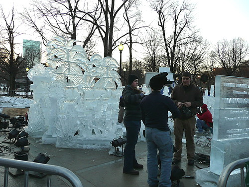 Ice sculptures in progress