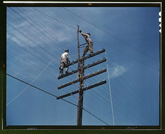 [Men working on telephone lines, probably near...