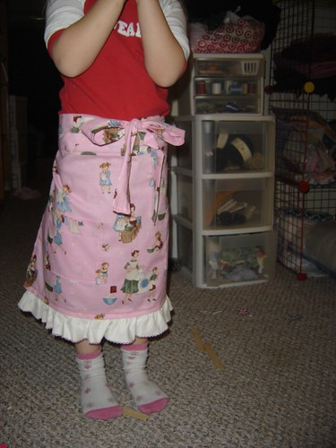 pink half apron